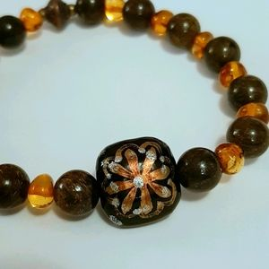 Natural Amber & Bronzite Lampwork Stretch Bracelet